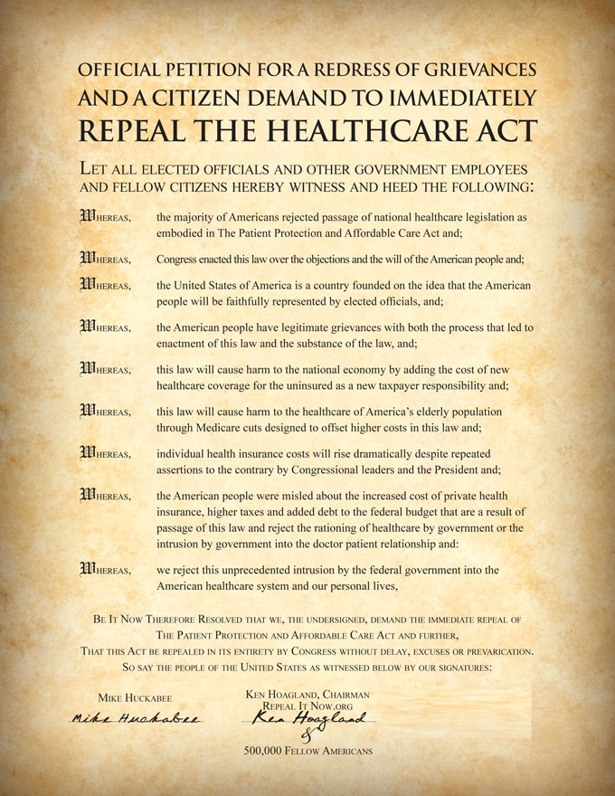 Petition to Repeal ObamaCare